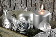 Christmas scene with silver candle Royalty Free Stock Photo