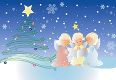Christmas scene with singing cherubs. Christmas scene with three cute cherubs ,singing Christmas carols on a blue background with snowflakes and Christmas tree Royalty Free Stock Image