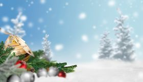 Christmas scene with snow and Christmas balls. Christmas scene with snow, fir trees, Christmas balls and fir branches and some depth of field stock image