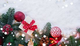 Christmas scene with snow Royalty Free Stock Image