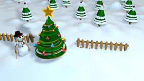Christmas scene with a snow man next to an abstract Christmas tree decorated with colored spheres with a forest of trees. In the background, the sky is blue Stock Image