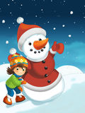 Christmas scene with snowman Royalty Free Stock Images