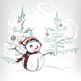 Christmas scene with snowman and christmas tree.Vector illustrat. Christmas scene with snowman and  tree Royalty Free Stock Image