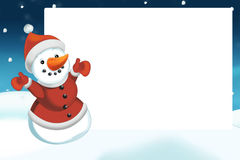 Christmas scene with snowman - frame Royalty Free Stock Images