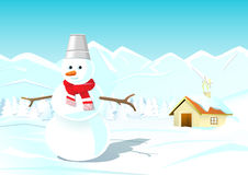 Illustration of Snowman with Winter Landscape Royalty Free Stock Image