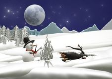 Christmas winter landscape with snowman and moonlight. Christmas night on a deep blue sky and moon with a snowman in front of ice flames royalty free illustration