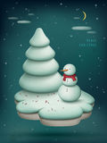 Christmas scene with snowman Stock Image