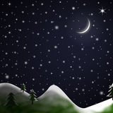 Christmas Scene - Starry Snowy Night Stock Photography