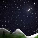 Christmas Scene - Starry Snowy Night Stock Photography