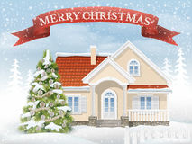 Christmas scene suburban house and fir tree. Country Christmas scene with the suburban house and the fir tree. Rural winter landscape with snow drifts and Royalty Free Stock Image
