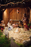Christmas scene with three Wise Men and baby Jesus. Christmas nativity scene with three Wise Men presenting gifts to baby Jesus, Mary & Joseph Stock Images