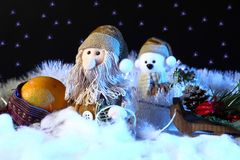 Christmas scene with toys decorations. New years holiday concept.  Stock Photos