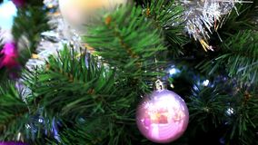 Christmas scene with tree and colordul balls,. Close-up. Shift motion. 1920x1080 stock footage