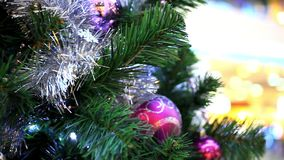 Christmas scene with tree and colordul balls,. Close-up. Shift motion. 1920x1080 stock video footage
