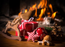 Christmas scene with tree gifts Stock Image
