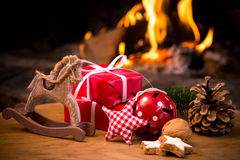Christmas scene with tree gifts Royalty Free Stock Images