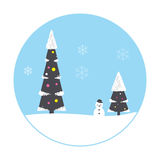 Christmas scene, tree, house,snowman Stock Image