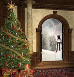 Christmas scene. Christmas tree in an old mansion with open door and winter scenery Stock Photos