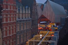 Christmas scene: Very rare view of the housing of the city of Ghent Royalty Free Stock Photo