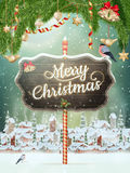 Christmas scene, village. EPS 10. Christmas scene, snowfall covered little village with trees. EPS 10 vector file included Stock Photos