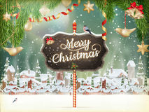 Christmas scene, village. EPS 10. Christmas scene, snowfall covered little village with trees. EPS 10 vector file included Stock Photo