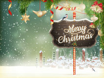 Christmas scene, village. EPS 10. Christmas scene, snowfall covered little village with trees. EPS 10 vector file included Royalty Free Stock Image
