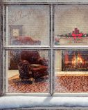Christmas scene through window. 3D Rendering Royalty Free Stock Images