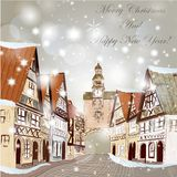 Christmas Scene With Houses In Snow Stock Photo