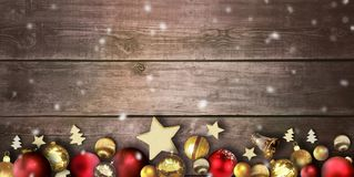 Free Christmas Scene With Wooden Board Background And Christmas Balls Stock Images - 132016504