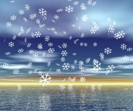 Christmas Scenery. With snowflakes over sky and water Royalty Free Stock Photos