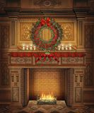 Christmas scenery 4. Fairytale fireplace with Christmas wreath and poinsettias Stock Images