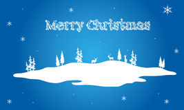 Christmas scenery on blue backgrounds. Vector illustration Stock Photography