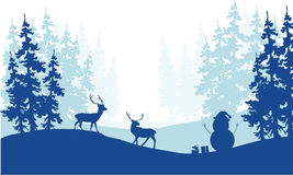 Christmas scenery deer and snowman silhouette Stock Photography