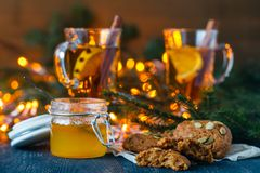 Christmas scenery and entertainments with spices and citruses stock images