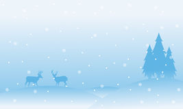 Christmas scenery reindeer with snow landscape. Vector art Stock Image