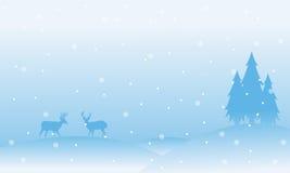 Christmas scenery reindeer with snow landscape. Vector art Vector Illustration