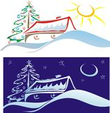 Christmas scenery - small house on the hill Royalty Free Stock Image