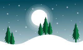 Christmas scenery with spruce and moon Royalty Free Stock Photo