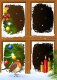 Christmas scenes seen through a wooden window Royalty Free Stock Photos