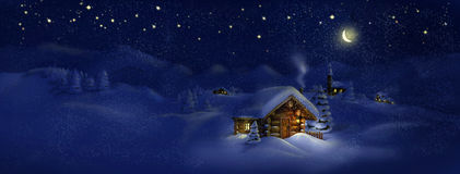 Christmas scenic panorama landscape - huts, church, snow, pine trees, Moon and stars Royalty Free Stock Images