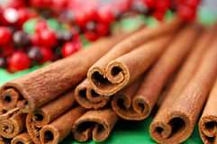 Christmas Scent. Macro shot of a bunch of cinnamon sticks Royalty Free Stock Images