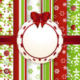 Christmas scrap book bauble background. Christmas Bauble Label and Ribbon on a Scrap Book Style Background Stock Images