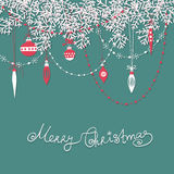 Christmas scrapbook card. Paper fir branches, baubles, teardrops and garlands over blue background Stock Images