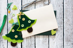 Christmas scrapbook set with Christmas Trees and envelope Royalty Free Stock Image