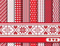 Christmas scrapbooking red. Christmas digital scrapbooking paper swatches in red and white with Scandanavian style ribbon royalty free illustration