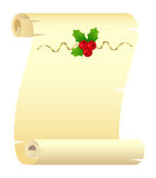 Christmas scroll. Scroll with Christmas decoration isolated on a white. Vector illustration Royalty Free Stock Photos