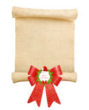 Christmas scroll with big red bow Royalty Free Stock Photos