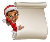 Christmas Scroll Elf Cartoon Stock Photos