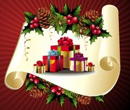 Christmas scroll with gifts,pinecone and holly Stock Image