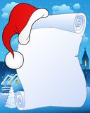 Christmas scroll with hat 2 Stock Photos